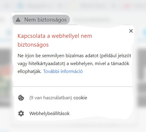Kapcsolata a webhellyel nem biztonságos