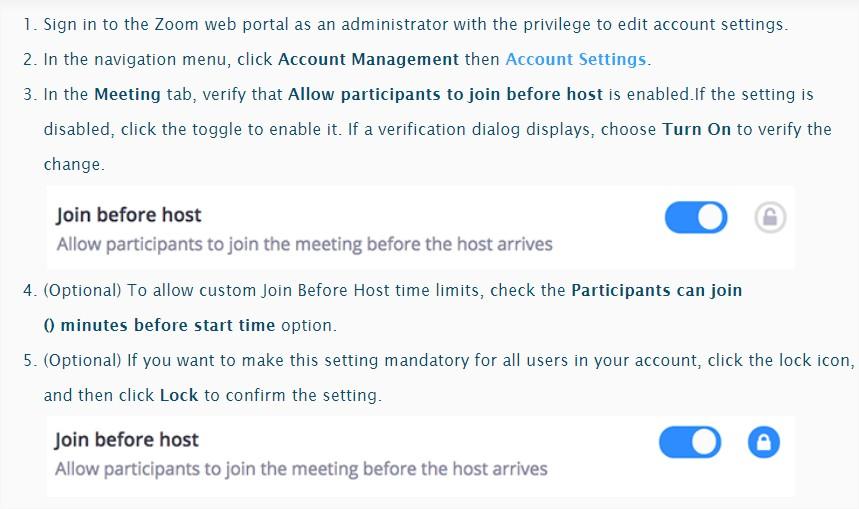 Csatlakozás engedélyezése azelőtt, mielőtt csatlakozna a Zoom találkozó indítója (házigazdája)satlakozás engedélyezése azelőtt, mielőtt csatlakozna a Zoom találkozó indítója (házigazdája)