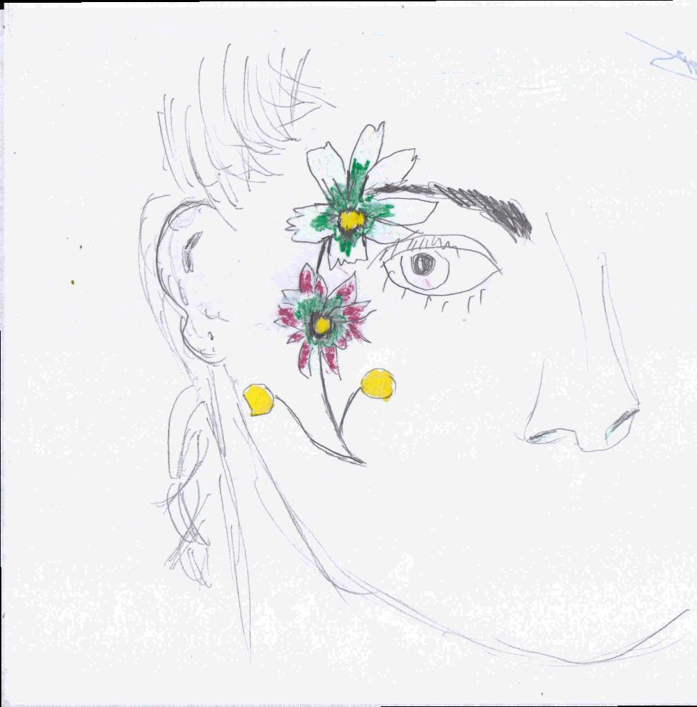 Kreatív virág vázlat tervezése egyszerűen arcfestéshez