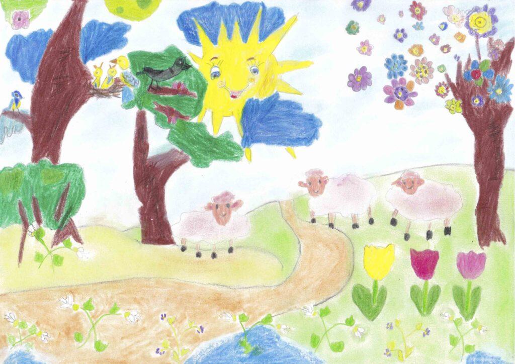 Nagy-Borkó Eszter 1.b osztályos tanuló: Tavasz van című rajza